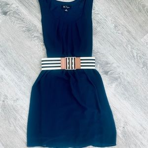 Blue belted midi dress